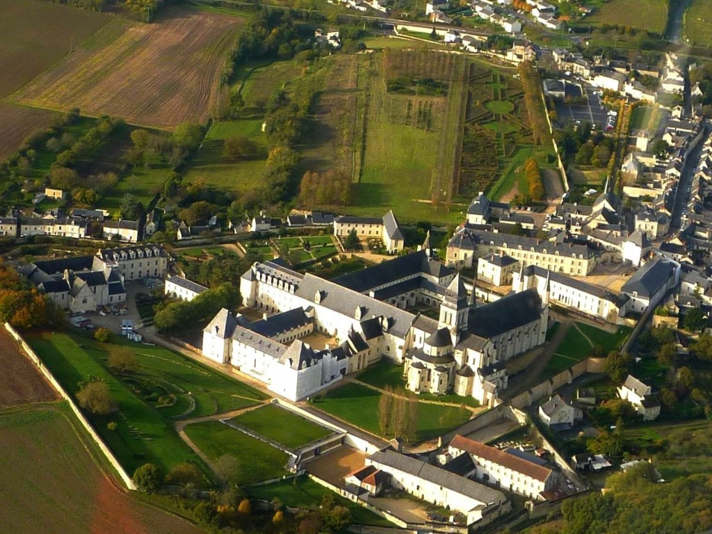 Aerial view of Fontevraud abbey down the road from your language school